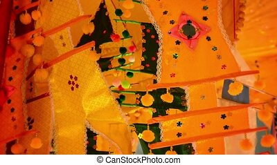 Handmade Cambodian Festival Flags on Display - Video 1080p -...