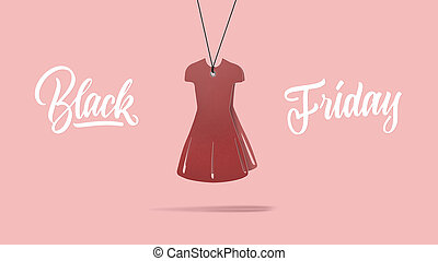 handmade cardboard red dress. Black friday and sale concept