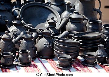 Handmade ceramic pottery at street handicraft market