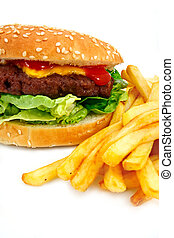 Handmade Cheeseburger with fries - gourmet cheeseburger with...