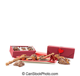 Handmade chocolate with love on white background