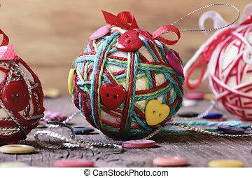 handmade christmas balls - closeup of some handmade...