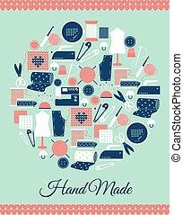 Handmade circular symbol. Sign of sewing, knitting and pattern pieces. Vector illustration