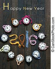 Handmade, clock, happy new year 2016, time