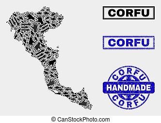 Handmade Collage of Corfu Island Map and Grunge Seal