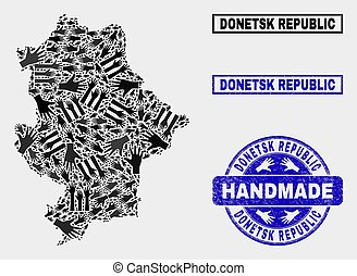 Handmade Collage of Donetsk Republic Map and Scratched Stamp