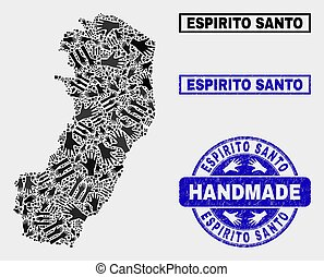 Handmade Collage of Espirito Santo State Map and Scratched Stamp