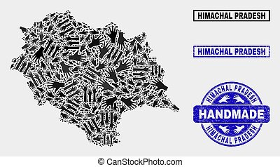 Handmade Collage of Himachal Pradesh State Map and Textured Stamp