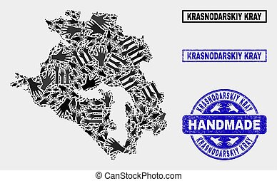 Handmade Collage of Krasnodarskiy Kray Map and Distress Stamp