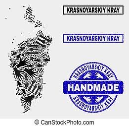 Handmade Collage of Krasnoyarskiy Kray Map and Scratched Stamp