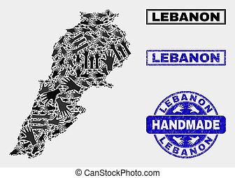 Handmade Collage of Lebanon Map and Textured Stamp