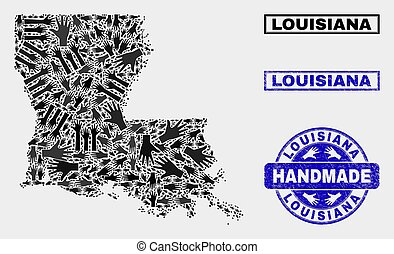 Handmade Collage of Louisiana State Map and Textured Seal