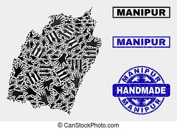 Handmade Collage of Manipur State Map and Scratched Stamp