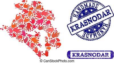 Handmade Collage of Map of Krasnodar Krai and Textured ...