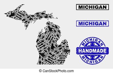 Handmade Collage of Michigan State Map and Textured Stamp