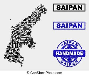 Handmade Collage of Saipan Island Map and Scratched Stamp