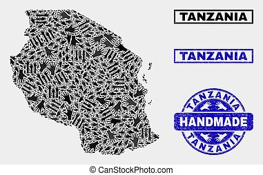 Handmade Collage of Tanzania Map and Textured Seal