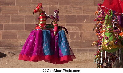 handmade colorful cloth dolls in Rajasthan, India