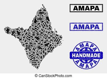 Handmade Composition of Amapa State Map and Scratched Seal
