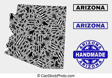 Handmade Composition of Arizona State Map and Textured Stamp