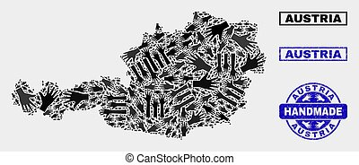 Handmade Composition of Austria Map and Grunge Stamp