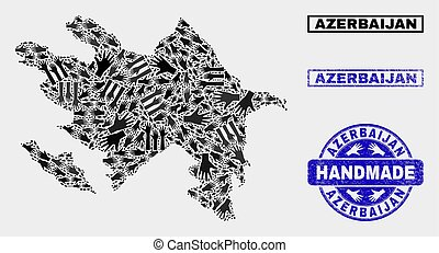 Handmade Composition of Azerbaijan Map and Scratched Seal