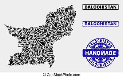 Handmade Composition of Balochistan Province Map and Grunge Stamp