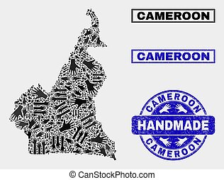 Handmade Composition of Cameroon Map and Grunge Seal