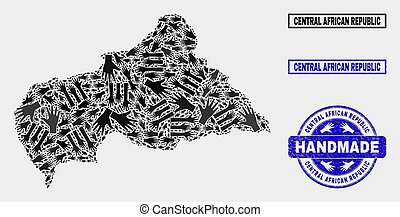 Handmade Composition of Central African Republic Map and Distress Stamp