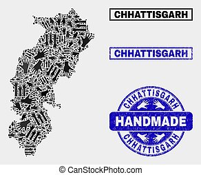 Handmade Composition of Chhattisgarh State Map and Textured Stamp