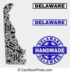 Handmade Composition of Delaware State Map and Distress Stamp