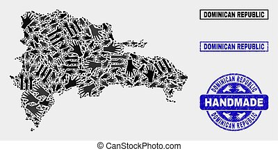 Handmade Composition of Dominican Republic Map and Distress Stamp