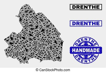 Handmade Composition of Drenthe Province Map and Grunge Stamp