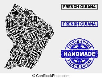 Handmade Composition of French Guiana Map and Grunge Seal