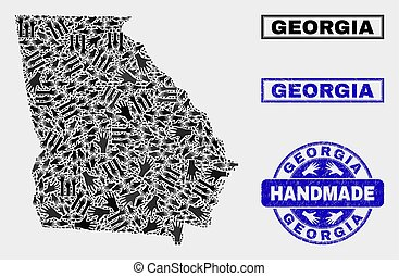 Handmade Composition of Georgia State Map and Textured Seal