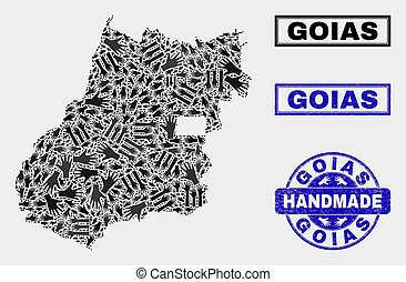 Handmade Composition of Goias State Map and Textured Seal