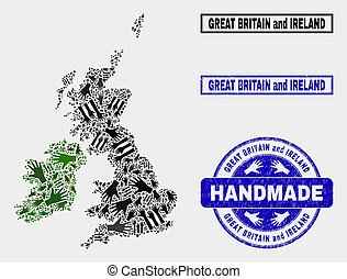 Handmade Composition of Great Britain and Ireland Map and Textured Stamp