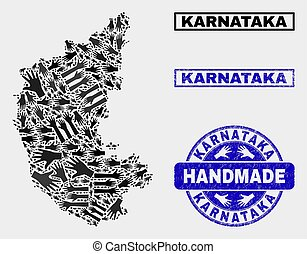 Handmade Composition of Karnataka State Map and Scratched Stamp