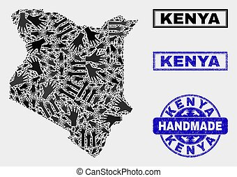 Handmade Composition of Kenya Map and Grunge Seal