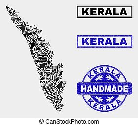 Handmade Composition of Kerala State Map and Scratched Seal