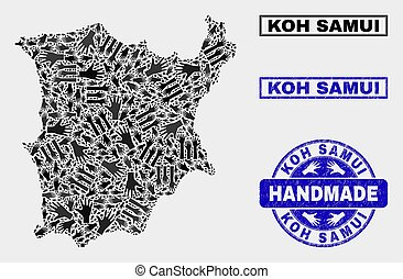Handmade Composition of Koh Samui Map and Scratched Seal