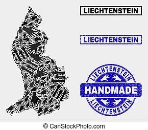 Handmade Composition of Liechtenstein Map and Distress Stamp