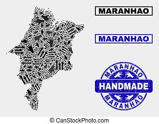 Handmade Composition of Maranhao State Map and Textured Stamp