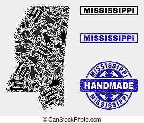 Handmade Composition of Mississippi State Map and Grunge Stamp