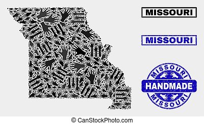 Handmade Composition of Missouri State Map and Textured Stamp