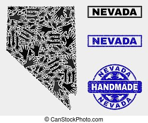 Handmade Composition of Nevada State Map and Textured Stamp