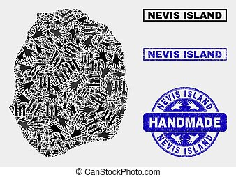Handmade Composition of Nevis Island Map and Distress Seal