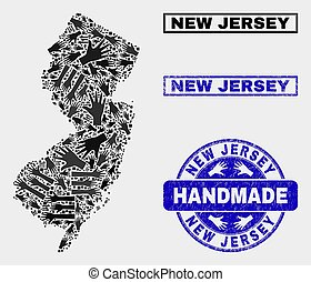 Handmade Composition of New Jersey State Map and Grunge Seal