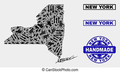 Handmade Composition of New York State Map and Textured Seal