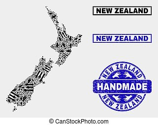Handmade Composition of New Zealand Map and Grunge Seal